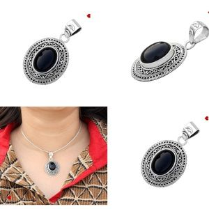 Black Onyx Crystal Pendant 925 Silver Pendant Boho